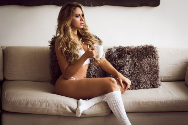 girl coffee lingerie